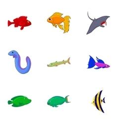 Inhabitants of sea icons set cartoon style vector