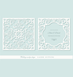laser cutting frame and damask panel set square vector image
