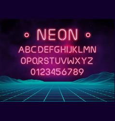 Light neon font letter set bar sign type vector