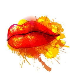 Lips with colorful splashes vector