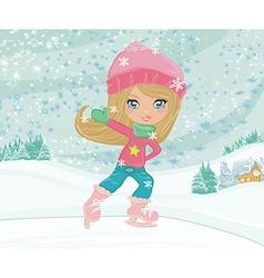 little girl on skates on winter rural landscape vector image vector image