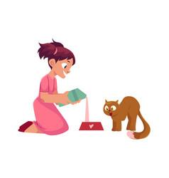 Little girl pouring milk for her cat feeding pet vector