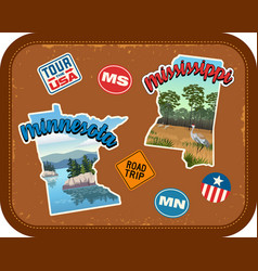 minnesota mississippi travel stickers vector image vector image