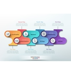 Modern paper infographics banner for 6 options vector