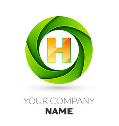 Realistic letter h logo in the colorful circle vector