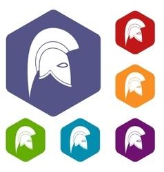 Roman helmet icons set vector image