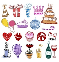Set of Birthday doodles vector image