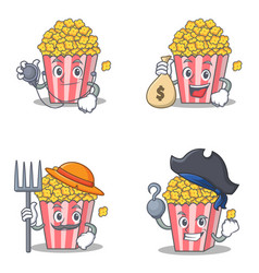 Set of popcorn character with doctor money mouth vector