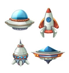 Spaceship and ufo set in cartoon style vector