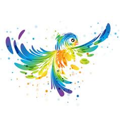 Splash colorful fantasy bird vector
