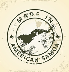 Stamp with map of American Samoa vector image vector image