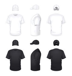 white and black t-shirts and caps vector image