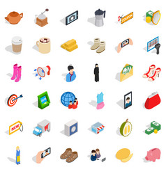 Woman phone icons set isometric style vector