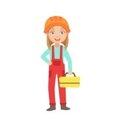 Girl holding metal instrument kit box kid dressed vector