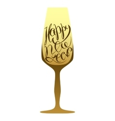 Christmas lettering champagne wineglass vector