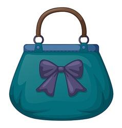 A blue handbag with ribbon vector image