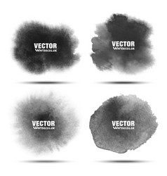 Set of dark gray black watercolor circle stains vector