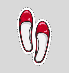 Women high heel shoes patch with dashed line vector