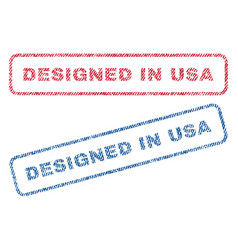 Designed in usa textile stamps vector