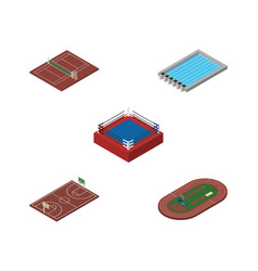 isometric lifestyle set of b-ball volleyball vector image