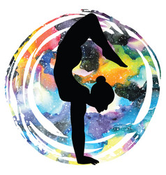Women silhouettearm balance scorpion yoga pose vector