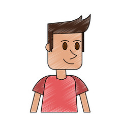 color pencil cartoon closeup half body guy with t vector image