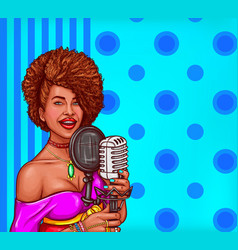 Pop art of a black woman sings vector
