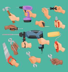 Human worker hands holding construction repair vector