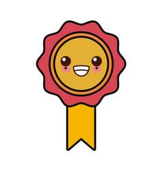 Medal award symbol cute kawaii cartoon vector