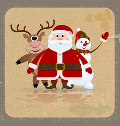 Santa claus snowman and reindeer vector