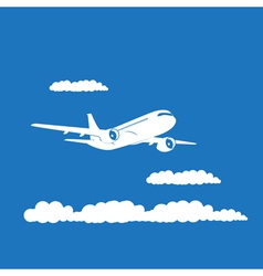 Airplane silhouette with clouds on blue background vector image