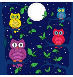 Owls in a moonlit night vector