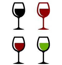 Glossy wine glasses set vector