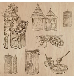 Bees beekeeping and honey - hand drawn pack 9 vector