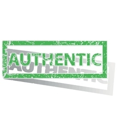 Green outlined authentic stamp vector