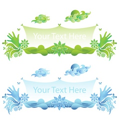 Delic hands and flowers banner vector backgr vector