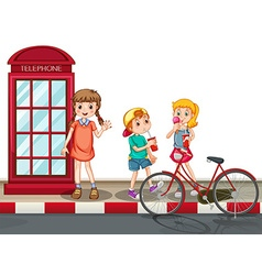 Kids standing on the street vector