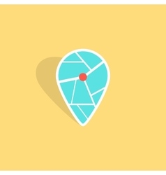 Turquoise pin icon with shadow isolated on yellow vector