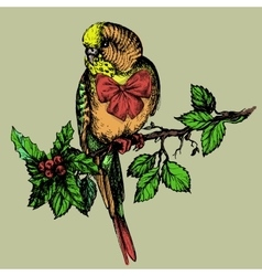 Parakeet with bow and mistletoe sitting on brunch vector