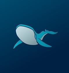 Blue whale logo sign emblem on dark blue vector