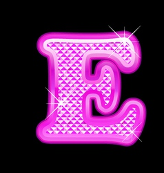 E letter pink bling girly vector image
