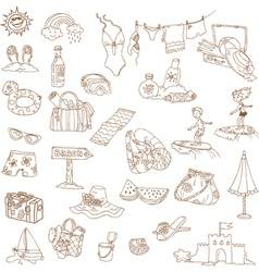 Summer holiday doodle collection vector image