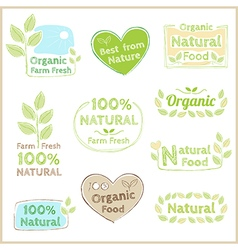 Badge set of certified organic natural food vector