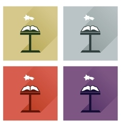 Concept of flat icons with long shadow holy bible vector