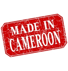 Made in cameroon red square grunge stamp vector