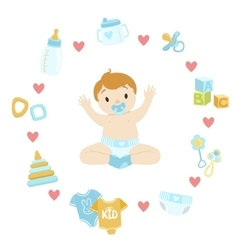 Baby Boy Surrounded With Object It Needs vector image