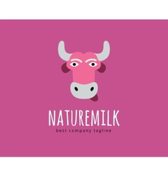 Abstract cartoon cow head logo icon concept vector