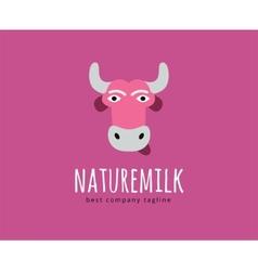 Abstract cartoon cow head logo icon concept vector image