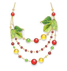 Autumn necklace vector