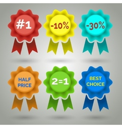 Award badge with ribbon icons vector